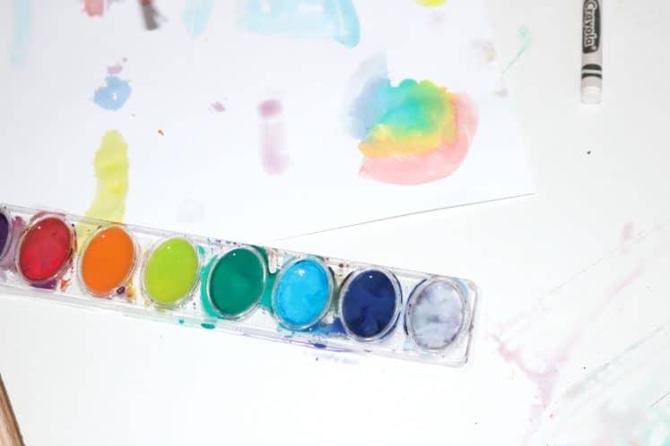 watercolor paints on wax resist artwork
