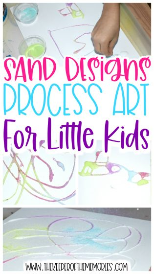 collage of Sand Process Art images with text: Sand Designs Process Art for Little Kids