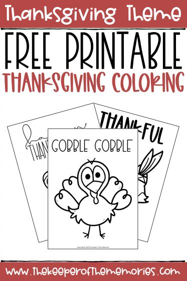 collage of Thanksgiving Coloring Pages with text: Thanksgiving Theme Free Printable Thanksgiving Coloring