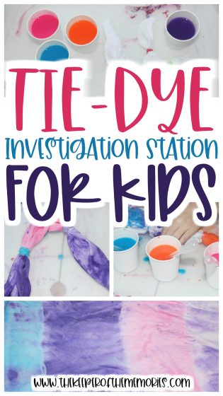 college of Tie-Dye STEAM images with text: Tie-Dye Investigation Station for Kids