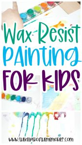collage of Resist Painting images with text: Wax Resist Painting for Kids