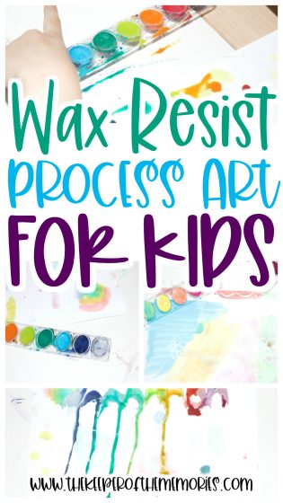 collage of Resist Painting images with text: Wax Resist Process Art for Kids