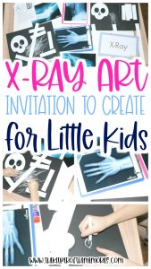 collage of X-Ray Art images with text: X-Ray Art Invitation to Create for Little Kids
