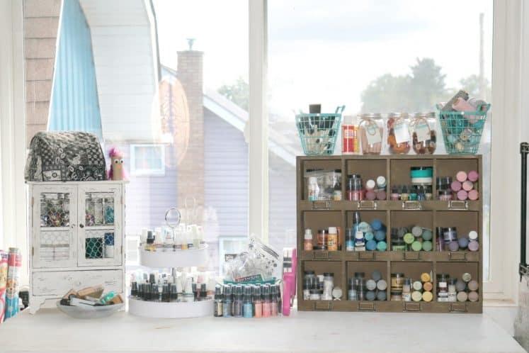 craft supplies organized on workspace