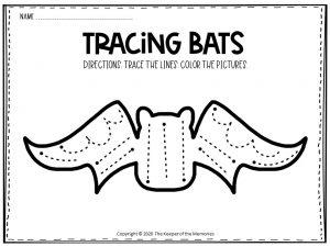 Bat Tracing Halloween Worksheets Free Printable 2
