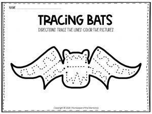 Bat Tracing Halloween Worksheets Free Printable 3