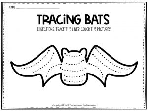 Bat Tracing Halloween Worksheets Free Printable 4