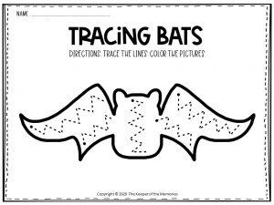 Bat Tracing Halloween Worksheets Free Printable 5