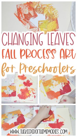 fall process art with text: Changing Leaves Fall Process Art for Preschoolers