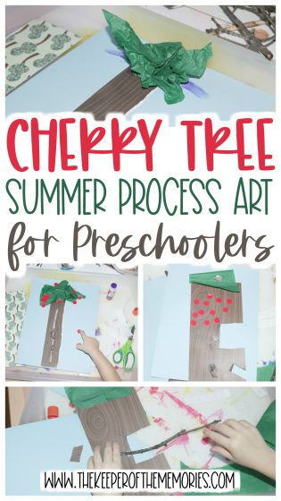 summer process art with text: Cherry Tree Summer Process Art for Preschoolers