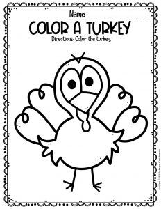 Color A Turkey Free Printable Turkey Worksheets