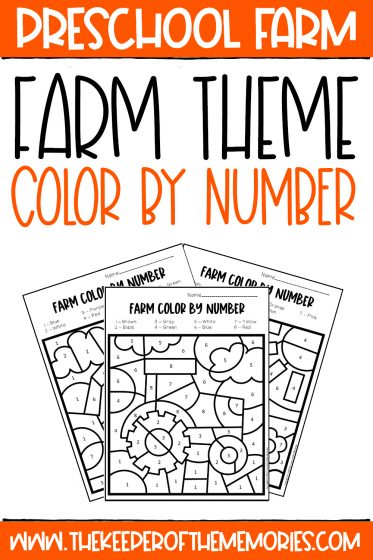 collage of Color by Number Farm Preschool Worksheets with text: Preschool Farm Farm Theme Color by Number