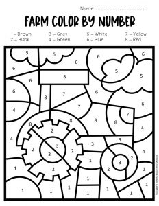 Color by Number Farm Preschool Worksheets Tractor