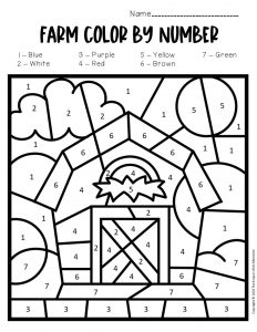 Color by Number Farm Preschool Worksheets Tractor Barn
