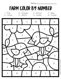 Color by Number Farm Preschool Worksheets Tractor Chicks
