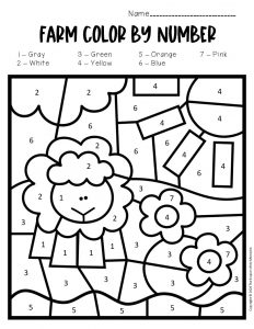 Color by Number Farm Preschool Worksheets Tractor Sheep