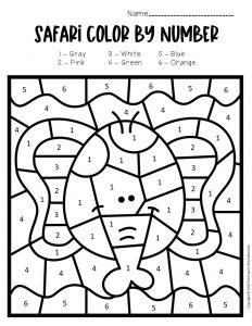 Color by Number Safari Preschool Worksheets Elephant
