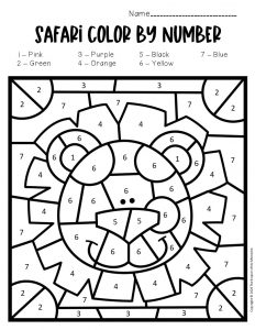 Color by Number Safari Preschool Worksheets Lion
