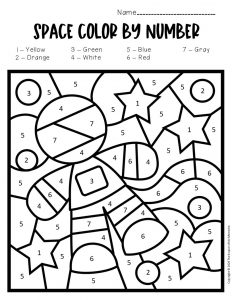 Color by Number Space Preschool Worksheets Astronaut