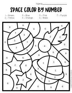 Color by Number Space Preschool Worksheets Planets