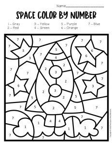 Color by Number Space Preschool Worksheets Rocket