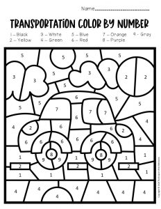 Color by Number Transporation Preschool Worksheets Car