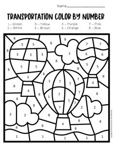 Color by Number Transporation Preschool Worksheets Hot Air Balloons