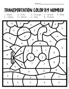 Color by Number Transporation Preschool Worksheets Submarine