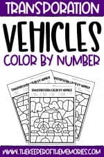Color by Number Transportation Preschool Worksheets