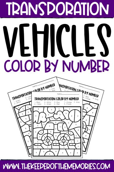 collage of Color by Number Transportation Preschool Worksheets with text: Transportation Vehicles Color by Number