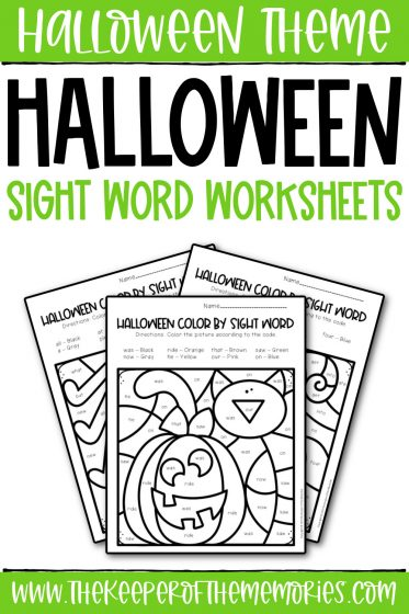 collage of Color by Sight Word Halloween Preschool Worksheets with text: Halloween Theme Halloween Sight Word Worksheets
