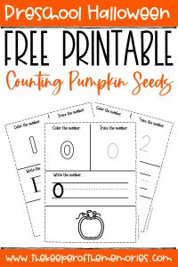 collage of pumpkin seed counting preschool worksheets with text: Preschool Halloween Free Printable Counting Pumpkin Seeds