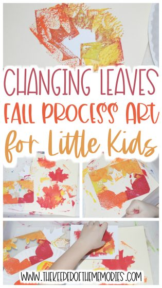 fall process art with text: Changing Leaves Fall Process Art for Little Kids