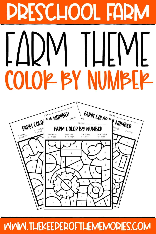 Color by Number Farm Preschool Worksheets