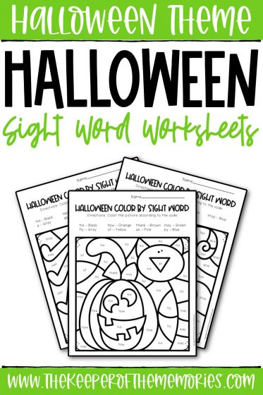 collage of Color by Number Halloween First Grade Worksheets with text: Halloween Theme Halloween Sight Word Worksheets