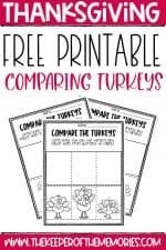 Free Printable Comparing Turkeys Thanksgiving Worksheets for Preschoolers