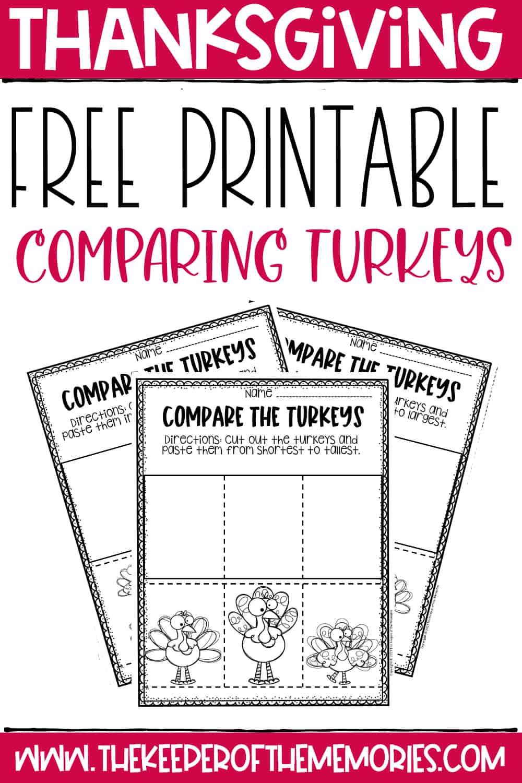 Free Printable Comparing Turkeys Thanksgiving Worksheets for Preschoolers