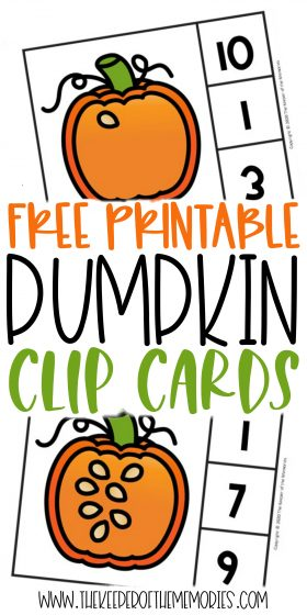 Counting Pumpkin Seeds Halloween Numbers Printable Clip Cards with text: Free Printable Pumpkin Clip Cards