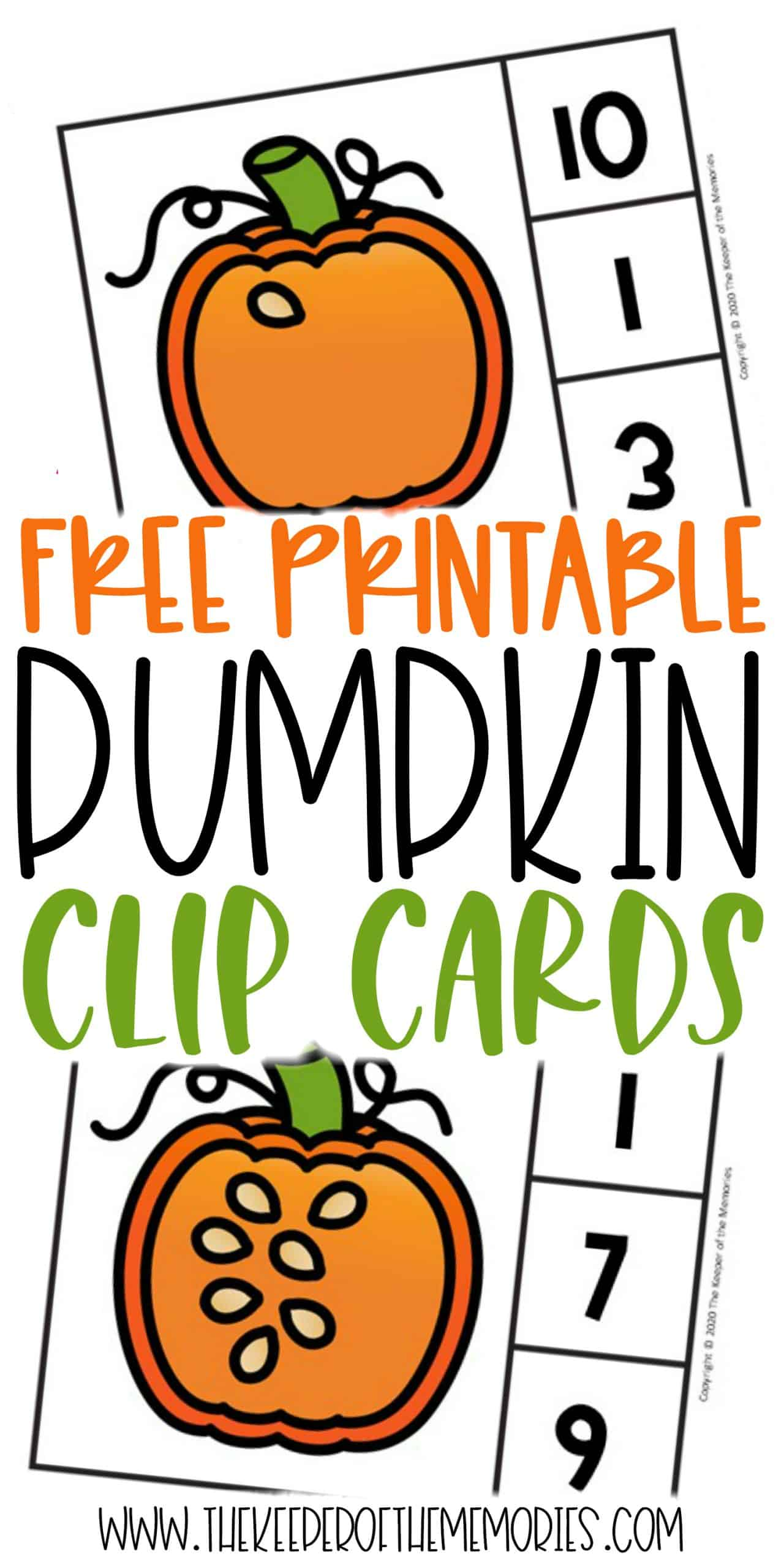 Counting Pumpkin Seeds Halloween Numbers Printable Clip Cards