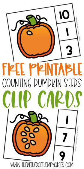 Counting Pumpkin Seeds Halloween Numbers Printable Clip Cards with text: Free Printable Counting Pumpkin Seeds Clip Cards