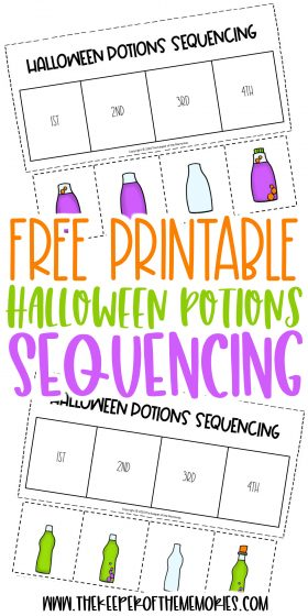 Halloween Potions Sequencing Worksheets with text: Free Printable Halloween Potions Sequencing
