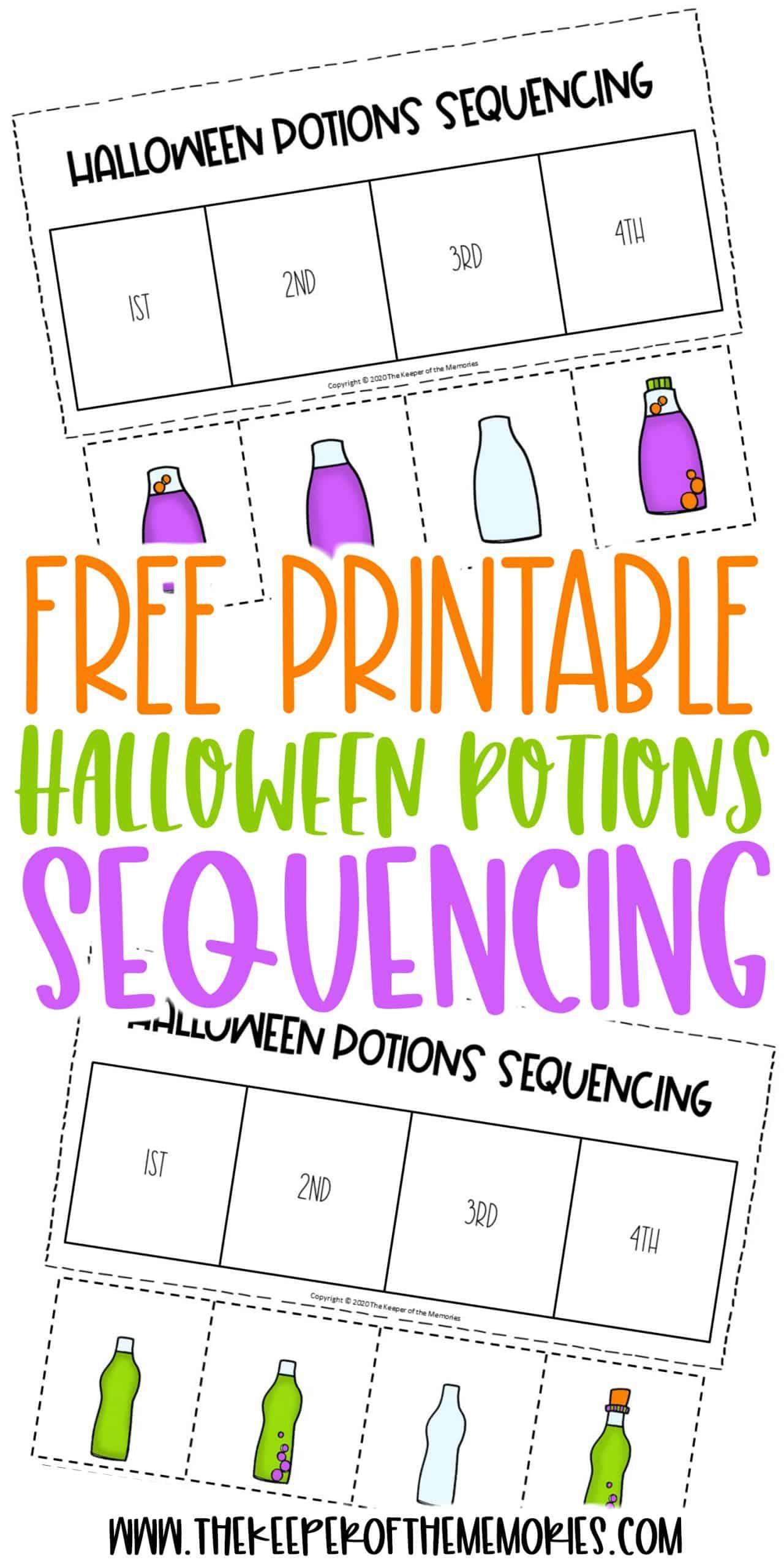 Free Printable Potions Sequencing Halloween Preschool Worksheets