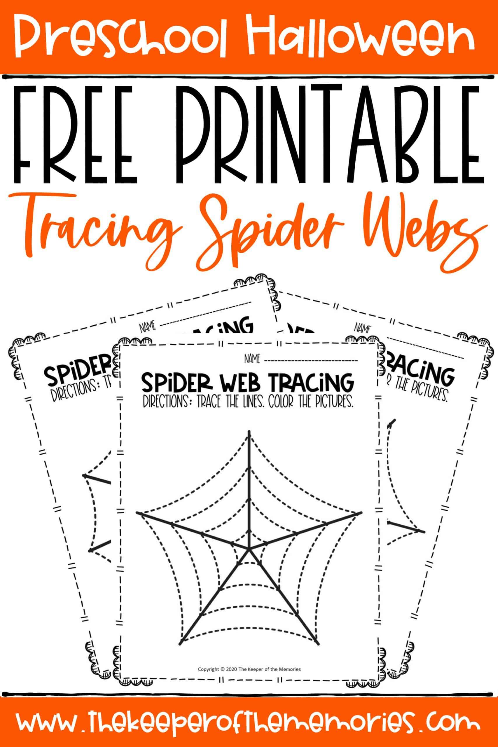 Spider Webs Preschool Halloween Tracing Worksheets