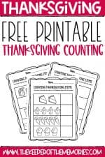 Free Printable Preschool Thanksgiving Math Worksheets