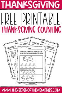 collage of Thanksgiving counting worksheets with text: Thanksgiving Free Printable Thanksgiving Counting