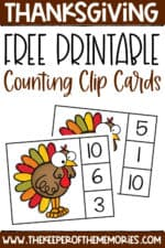 Free Printable Thanksgiving Counting Clip Cards