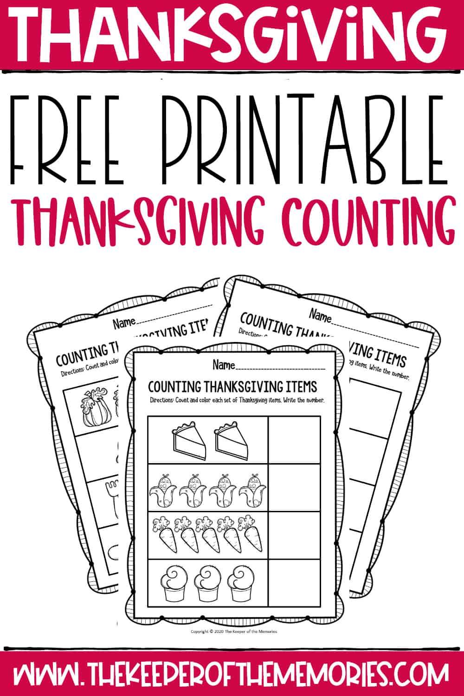Free Printable Preschool Thanksgiving Math Worksheets
