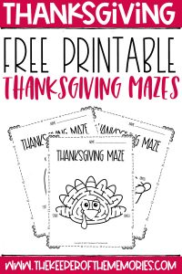 collage of Thanksgiving Mazes with text: Free Printable Thanksgiving Mazes