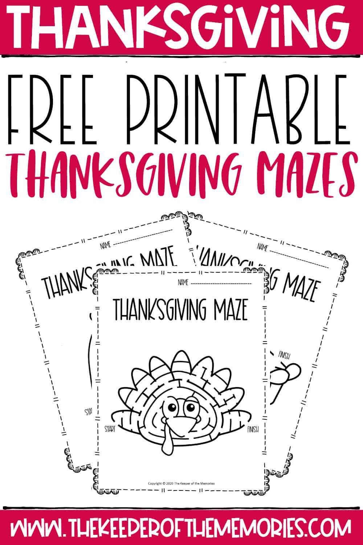 Free Printable Thanksgiving Mazes