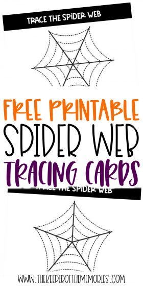 Tracing Spider Webs Halloween Printable Activities with text: Free Printable Spider Web Tracing Cards